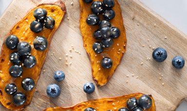 Sweet Potato Toasts with Blueberries and Tahini Sauce