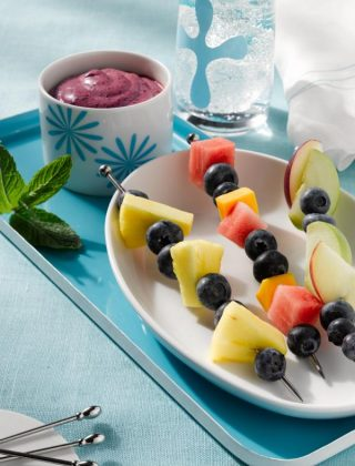 Fruit Kebabs With Blueberry Dip