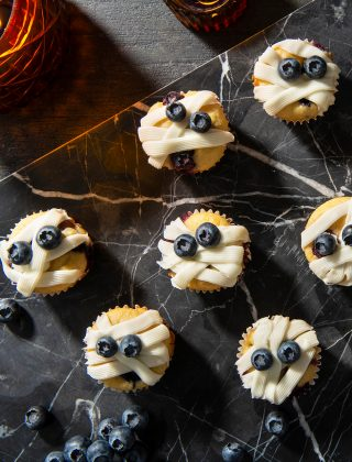Mini Blueberry Mummy Muffins